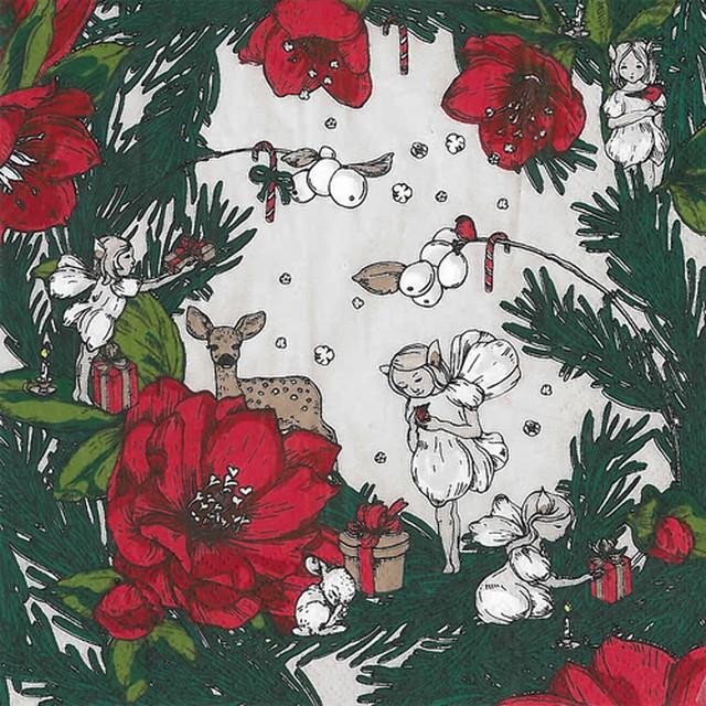 2020秋冬新作|北欧【havi】バラ売り1枚 ランチサイズ ペーパーナプキン Joulusatu グリーン Designed by Nuppu