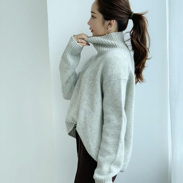 【予約】cashmere high neck knit / gray (ご注文から2~3週間での配送)