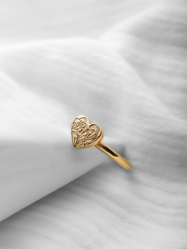 316L hawaiian heart ring