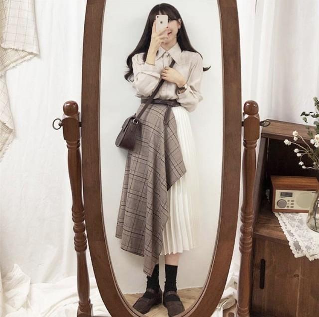 チェック柄 スカートデザイン × プリーツスカート MIX 2色 B2434【1/27まで10%OFF!!】