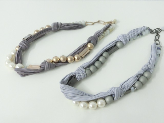 【 UNSEABLE 】Pearl ribbon neckless / Gold