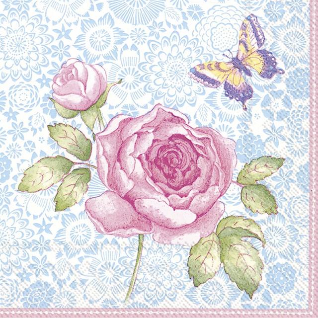 入荷しました|完売再入荷【Villeroy&Boch】バラ売り2枚 ランチサイズ ペーパーナプキン ALL ABOUT TEA ブルー×ピンク