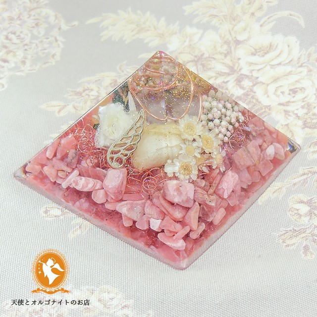 ソウルメイトのピラミッド  インカローズ 黄金比【オルゴナイト】No.3