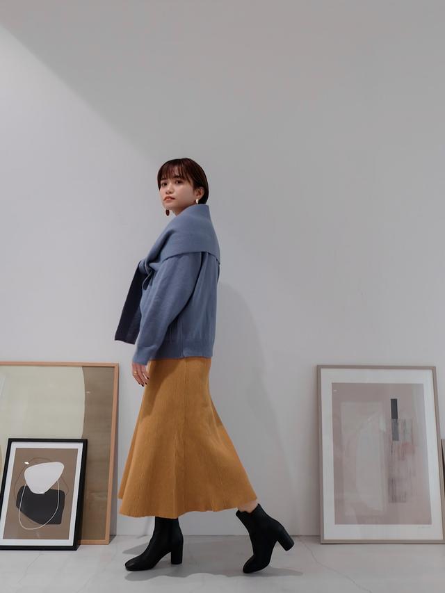 knit flare skirt(camel)
