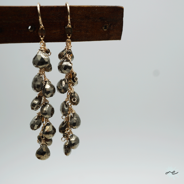 Pyrite Earrings/K14 gf