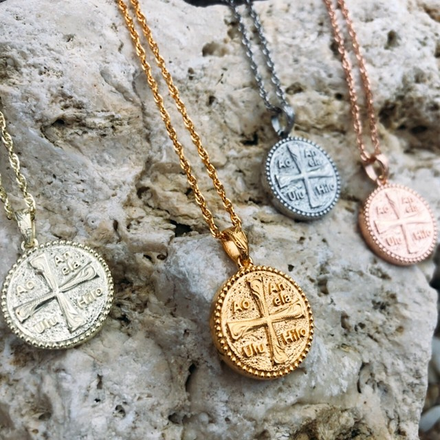 HOLY CROSS COIN necklace グリーンゴールドコーティング