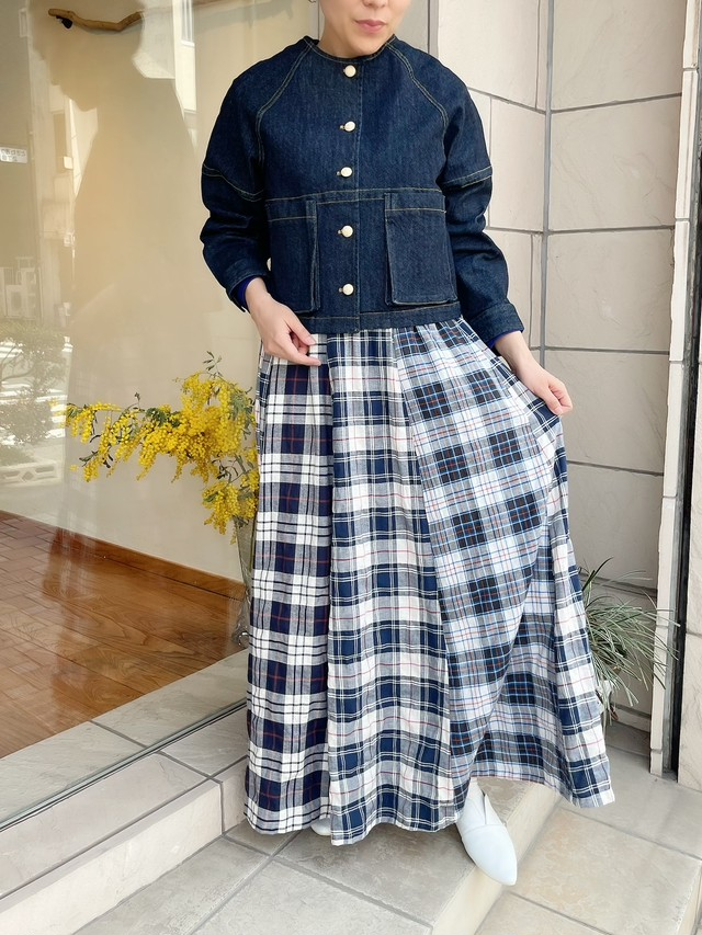 Bluene / ネルチェックロングスカート