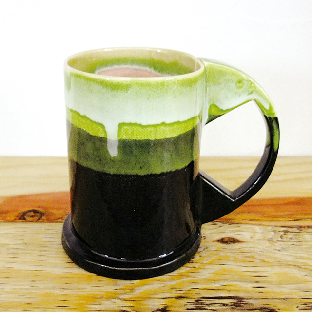 "Echo Park Pottery  ""Large Mug"" Green×Black"