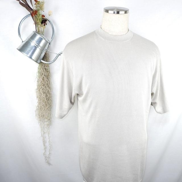 [L] Ash-gray Silk Tee | アッシュグレー シルク Tシャツ