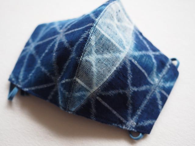 藍染め手織りかすり 4 層仕立て 快適サラサラマスク(ぼかし枡掛)