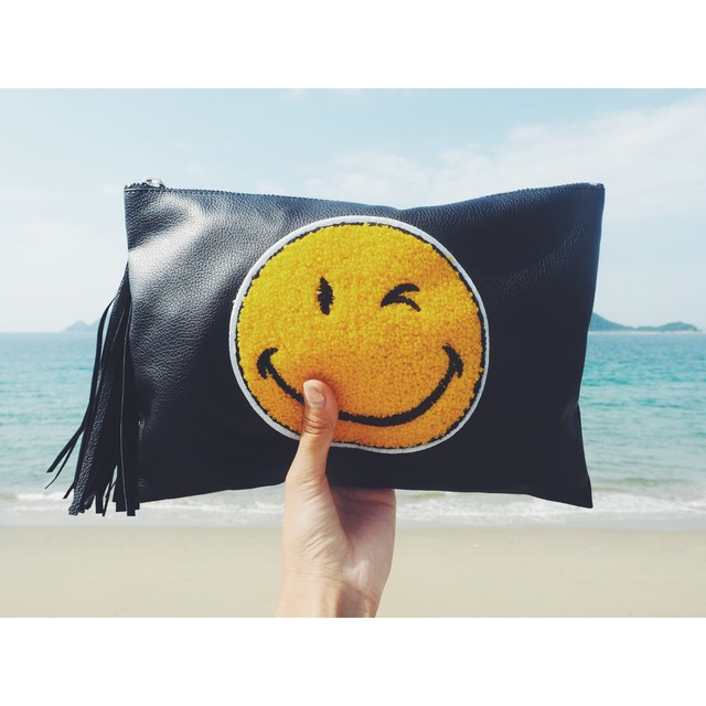 Leather Tussel Smile Clutch Bag 《BLACK》17380664