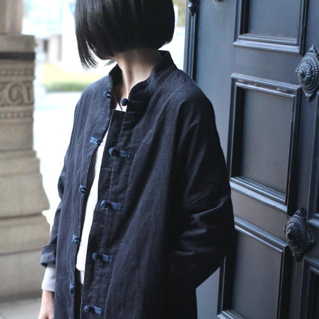 チャイナボタンのコーデュロイコート【すみ黒】