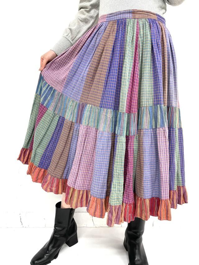 patchwork design tiered skirt / 3SSSK03-11
