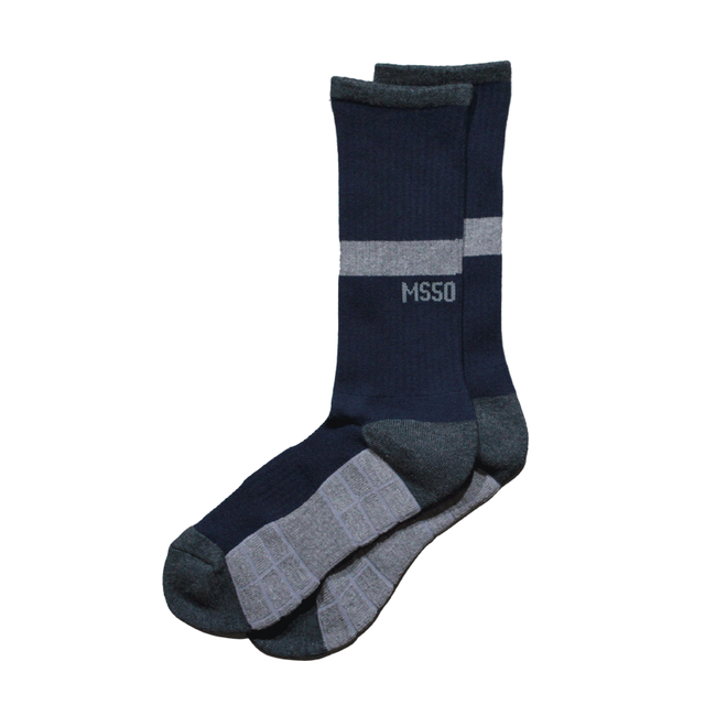 TWO WAY crew socks <Navy×Gray> - メイン画像