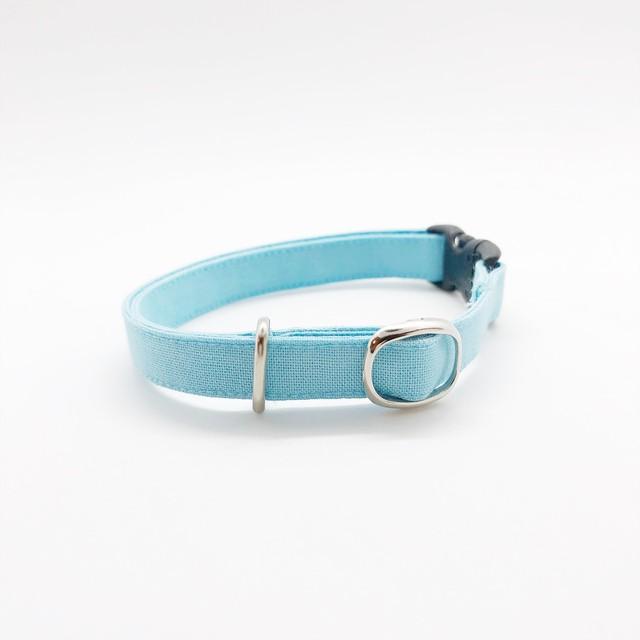 猫 首輪 コットン シンプル ライトブルー 5色展開♫