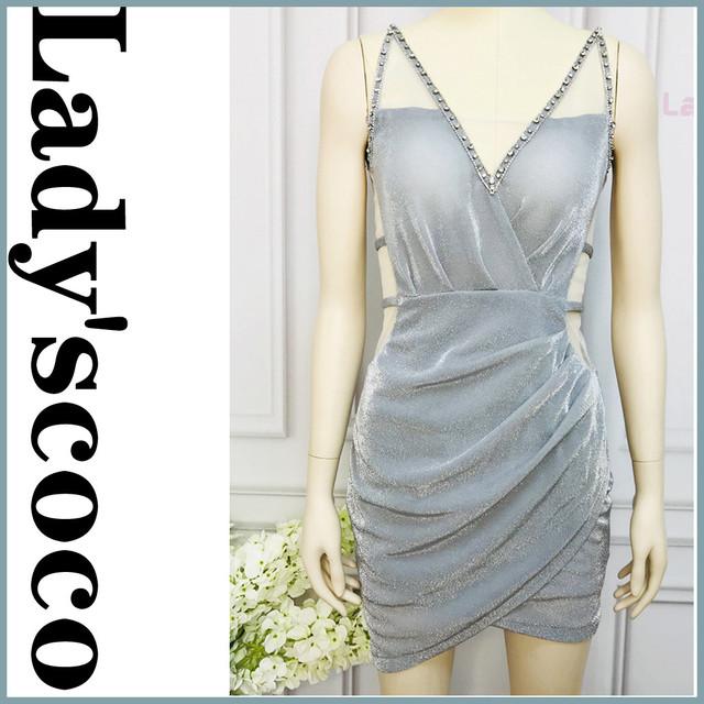 YN1082光沢のある生地のドレス  手動ネイルドリルショートドレス