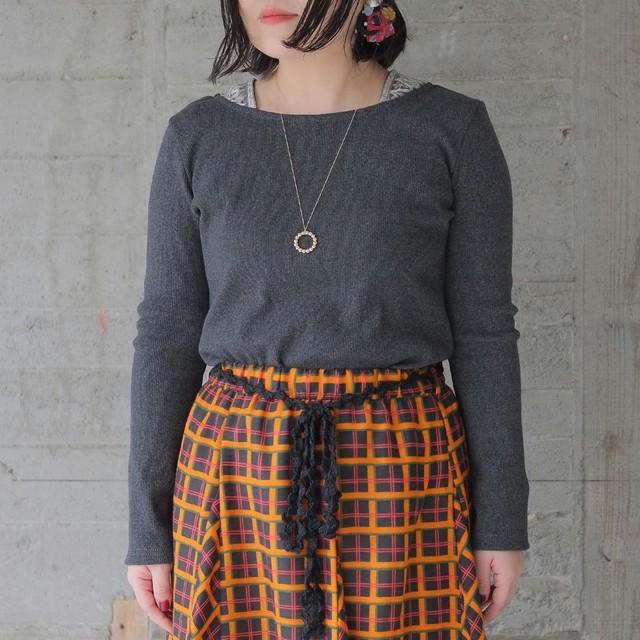 刺繍リブカットソー(20w-008)チャコールグレー