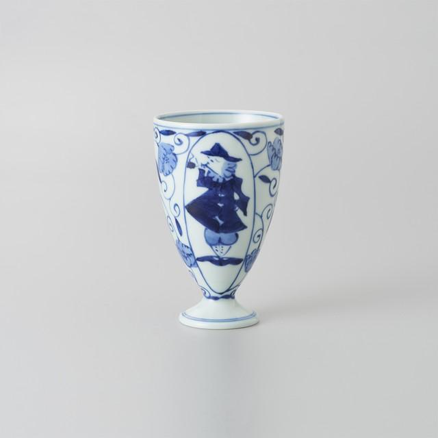 【青花】唐草異人 フリーカップ(中)