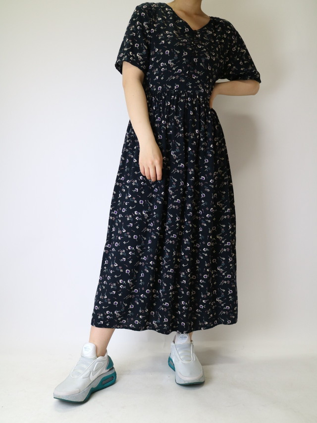 flower pattern back ribbon dress【1124】