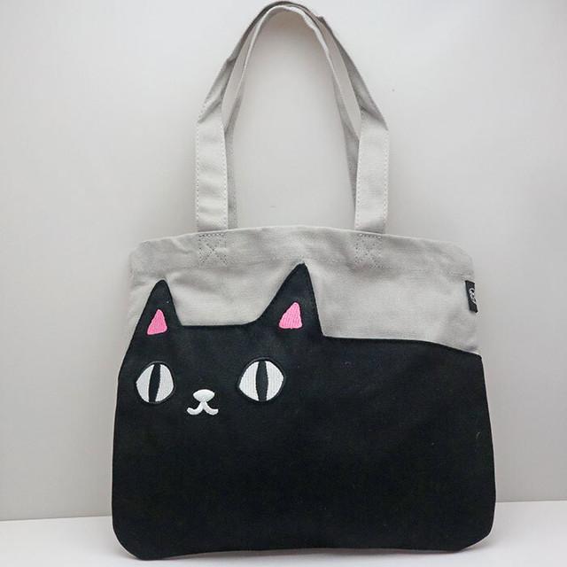 【トリオキャット】キャンバスカラートートバッグ【猫柄 BG0008】