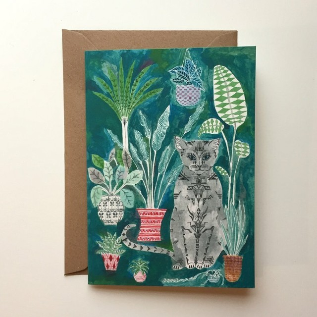 Cat and Pot Plants Card
