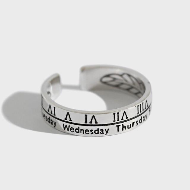 silver925 ローマ数字デザイン オープンリング