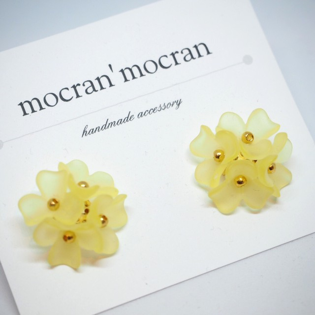 【mocran'mocran】カラフルフラワーピアス/イヤリング 黄