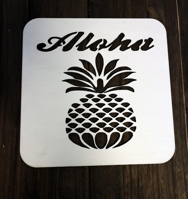 sale★アロハパイナップルウォールアート インテリアパネル ウォールパネル ハワイアン雑貨