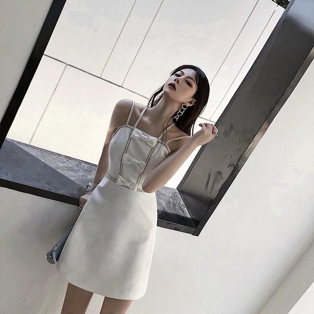 ribbon white a-line dress
