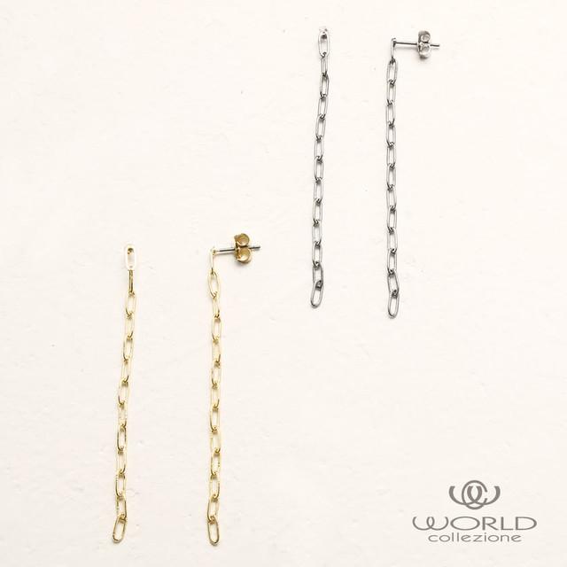【worcolle】チェーンデザインピアス(シルバー・ゴールドカラー)(No.132053-54)