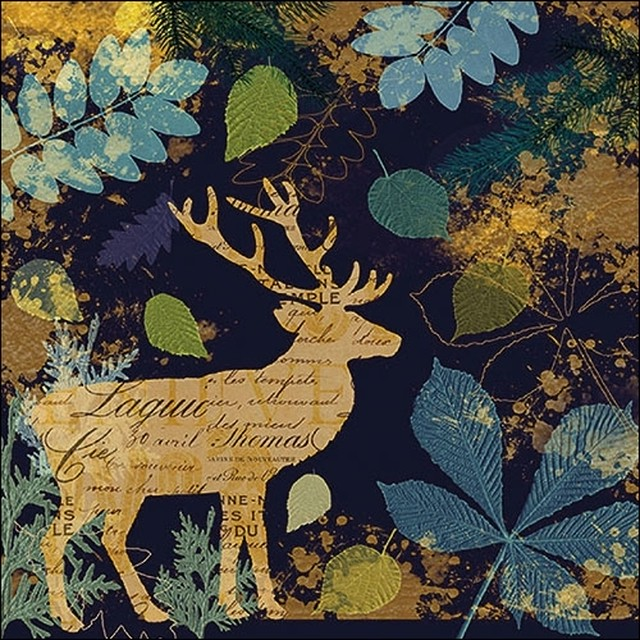 2020秋冬新作【Ambiente】バラ売り2枚 ランチサイズ ペーパーナプキン Autumn Deer ネイビー
