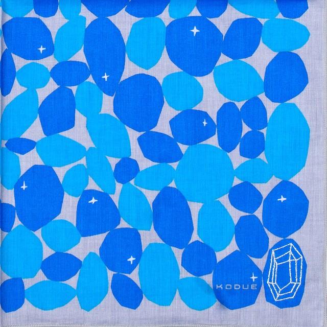 ひびのこづえ ハンカチ STONE/ ブルー 刺繍入り 2枚合わせ 48x48cm KH15-01
