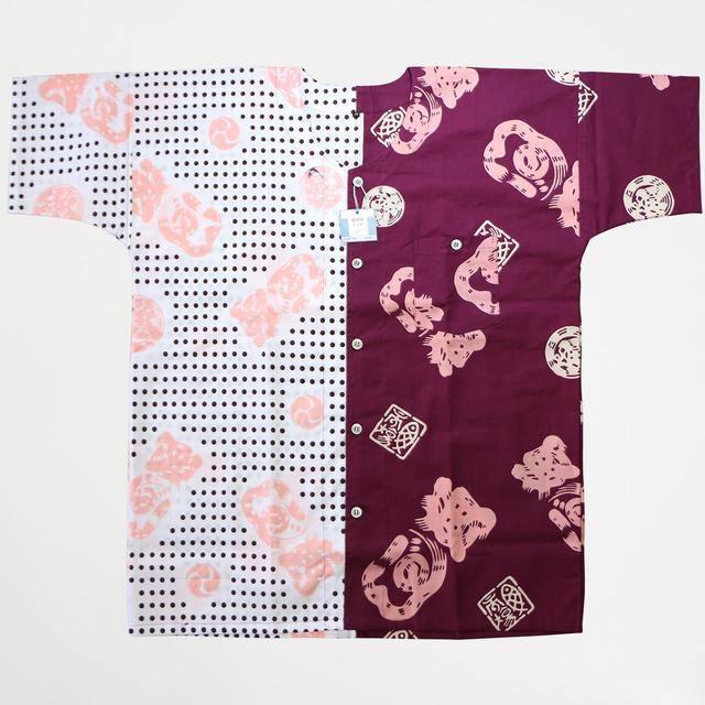 魚河岸シャツ【品番40028-LL】【市場紫クレヤピンク+ 豆絞り紫とピンク】