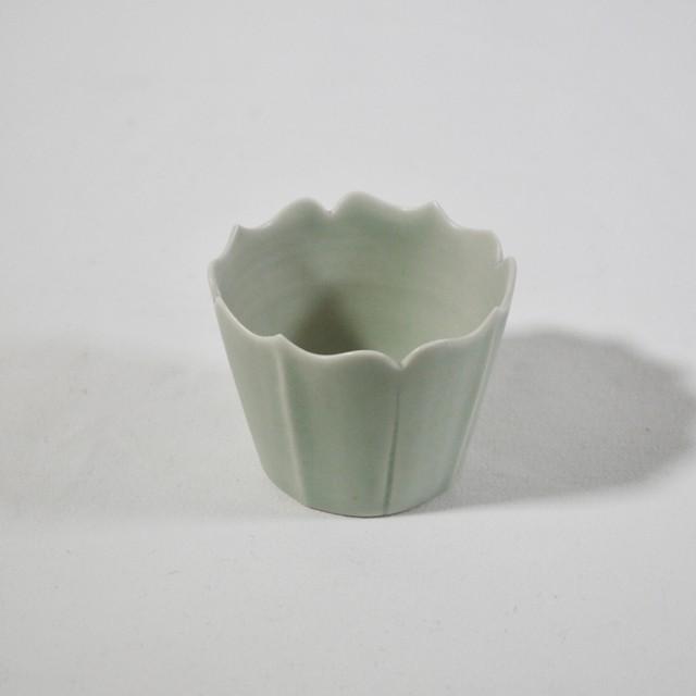 緑白磁 稜花蕎麦猪口