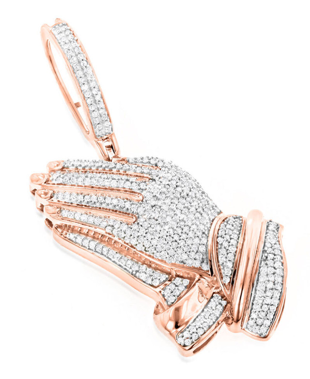 10K SOLID ROSE GOLD PRAYING HANDS PENDANT WITH DIAMONDS 0.9CT
