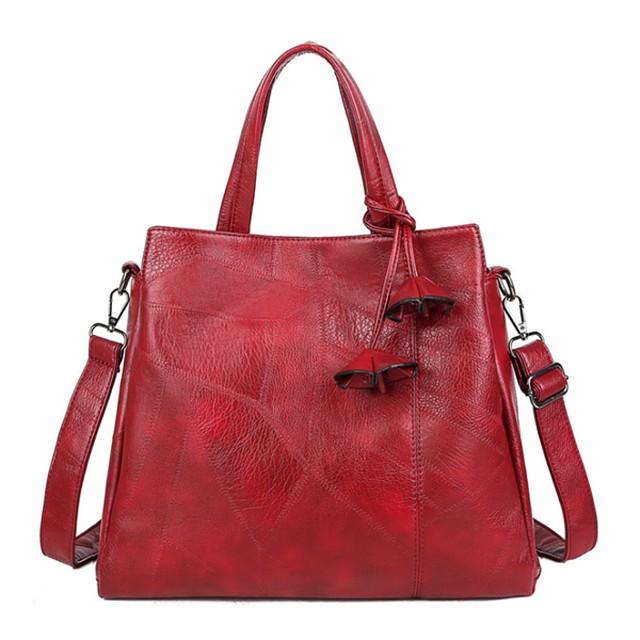 PUレザー ショルダーハンドバッグ 高品質ラージトートバッグレディースメッセンジャーバッグ Red