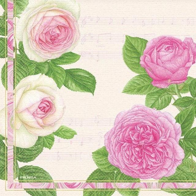 ペーパーナプキン 音符とピンクローズ