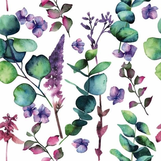 【ti-flair】バラ売り2枚 ランチサイズ ペーパーナプキン Branches d´Eucalyptus ホワイト