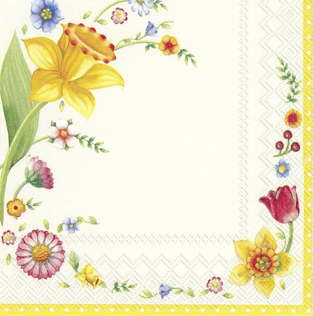 入荷しました|完売再入荷【Villeroy&Boch】バラ売り2枚 ランチサイズ ペーパーナプキン SPRING FANTASY FLOWERS イエロー