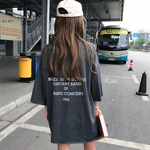 レディース Tシャツ バックロゴプリントTシャツ トップス  カットソー 半袖 ラウンドネック バックプリント オーバーサイズ シンプル きれいめカジュアル 夏 春 TP-1306-y
