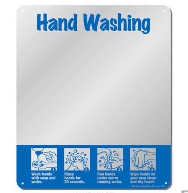 HAND WASHING アクリルミラーサイン