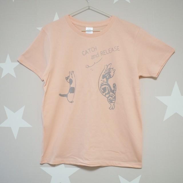<受注制作>マンチカン Tシャツ アプリコット レディースサイズ