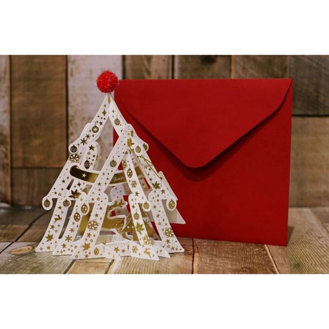 クリスマスメッセージカード(ホワイトツリー)/クリスマス雑貨/浜松雑貨屋 C0pernicus