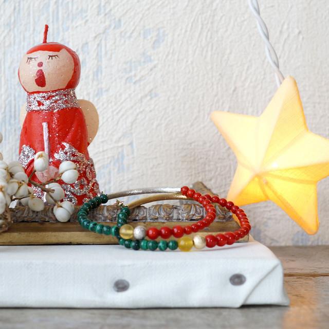 3月の誕生石 コーラル(珊瑚)とマラカイトでクリスマスブレスレット *kitt