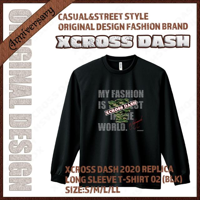 XCROSS DASH 2020 REPLICA Long sleeve T-SHIRT 02 (BLK) レプリカデザイン長袖Tシャツ