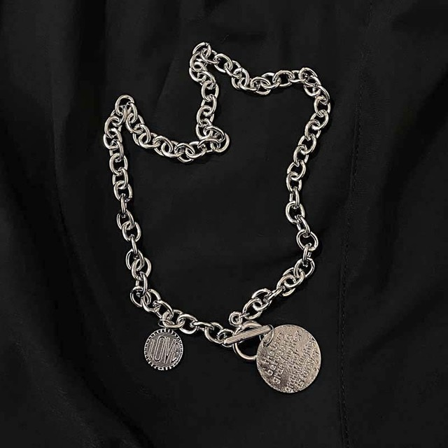 circle plate silver necklace  PD2586