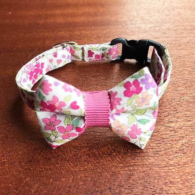 【送料無料】猫の首輪 リボン首輪 グログランリボン 花柄 ピンク