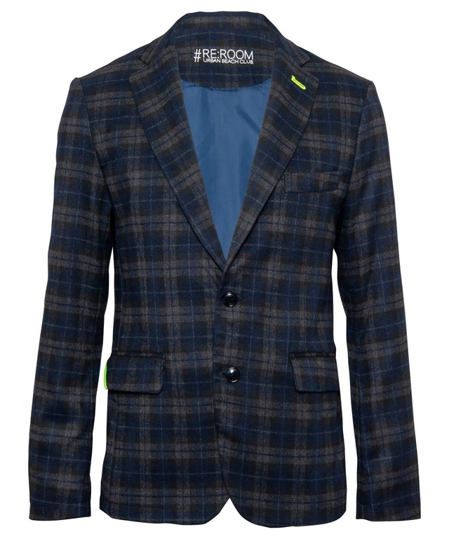 WOOL CHECK SLIM TAILORED JACKET[RUJ006]