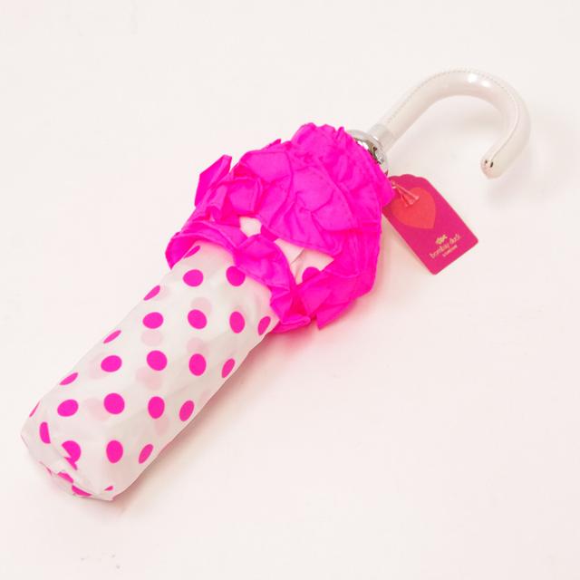 ボンベイダック コンフェティ  ハンドバッグ アンブレラ(折り畳み傘) ホワイト with  ネオン ピンク スポット