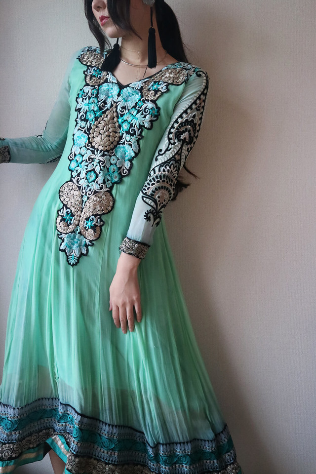 Green ethnic onepiece